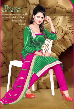 Riti Riwaz Green Designer Dress Material With Dupatta DLK1006