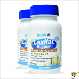 Healthvit Laxilac Regular Psyllium Husk Powder 60 CapsulesPack Of 2 WC123414