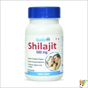 Healthvit Shilajit 60 capsules Increases Stamina and Sexual Health WC123411