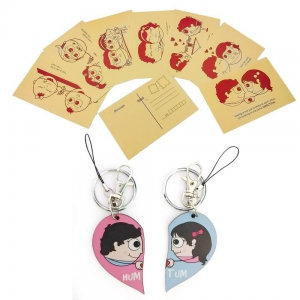 Designer Lovestory Postcards And Funky Couple Keychain Bagtag Combo DL4COMB412