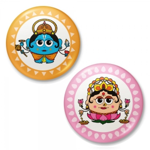 Lord Vishnu And Godess Laxmi Cute Design Fridge Toy Magnet Combo Gift DL4COMB419