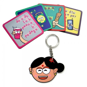 Mummy Ki Zubaani Special Tea Coasters And Smiling Mother Key Chain Gift DL4COMB433