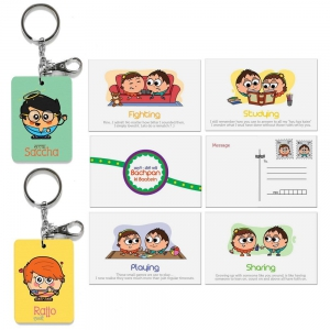 Saccha Dost And Rajjo Dost Key Chains And Designer Postcards Combo Gift DL4COMB437
