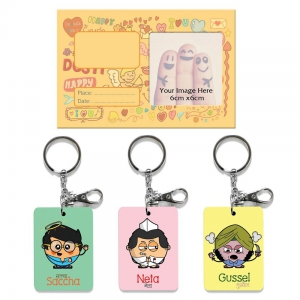 Exclusive Dostology Photoframe And 3 Pc Funky Key Chains Combo Gift DL4COMB438