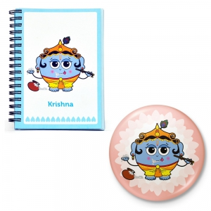 Lord Krishna Inspirational Note Book And Fridge Toy Magnet Combo Gift DL4COMB444