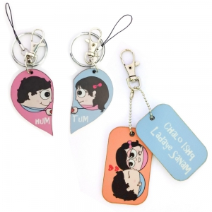Cute 3 in 1 Designer Keychain And Exclusive Love Bite Dangler Combo Set DL4COMB448