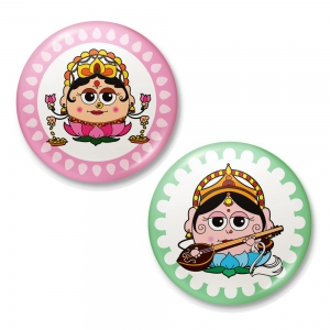 Goddess Saraswati And Laxmi Perfect Match Fridge Toy Magnet Combo Gift DL4COMB453