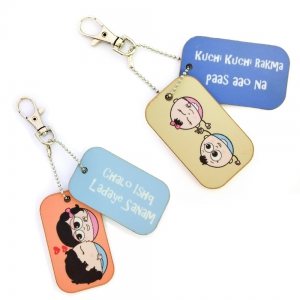 Romantic Love Bite Dangler cum Bag Tags Exclusive Lovers Combo Gift DL4COMB454