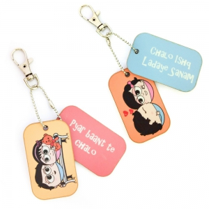 Romantic Love Bite Dangler cum Bag Tags Exclusive Lovers Combo Gift DL4COMB457