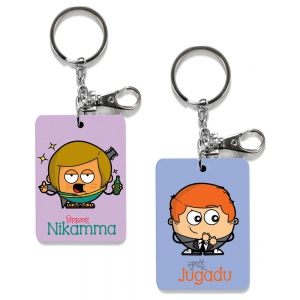 Exclusive Nikamma And Jugadu Print Funky Friends Keychain Combo Gift DL4COMB462