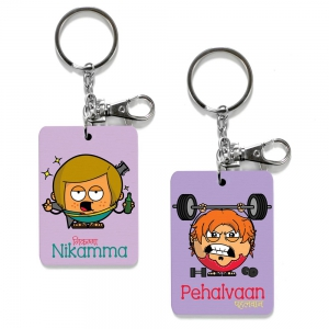 Exclusive Nikamma And Pehalvan Dost Printed Funky Keychains Combo Gift DL4COMB465