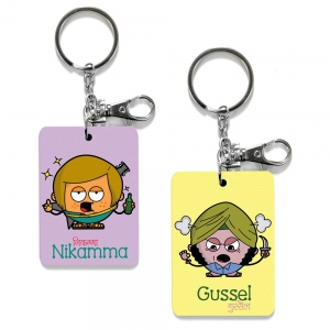Exclusive Nikamma And Gussel Dost Printed Funky Friends Keychain Combo DL4COMB467