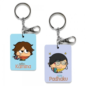 Exclusive Kamina And Padhaku Dost Funky Print Friends Keychains Gift DL4COMB482