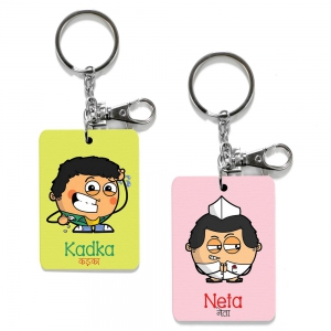 Exclusive Kadka And Neta Dost Printed Unique Friends Key Chains Combo DL4COMB484