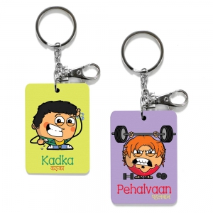 Exclusive Kadka And Pehalvan Dost Printed Cute Friends Keychains Combo DL4COMB486