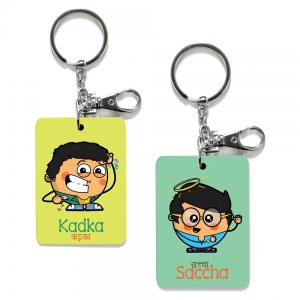 Exclusive Kadka And Saccha Dost Printed Funky Friends Key Chains Combo DL4COMB487