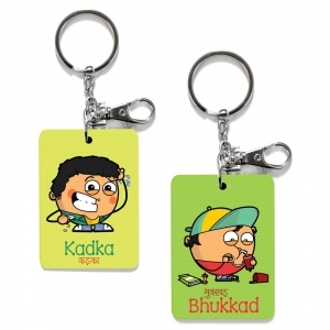 Exclusive Kadka And Bhukkad Dost Funky Printed Friends Keychains Combo DL4COMB490