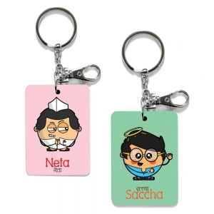 Exclusive Neta And Saccha Dost Special Print Friends Keychains Combo DL4COMB496