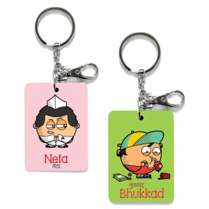 Exclusive Neta And Bhukkad Dost Funky Print Friends Key Chains Combo DL4COMB499