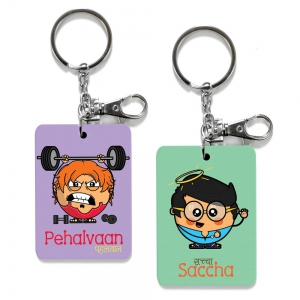Exclusive Pehalvaan And Saccha Dost Printed Cute Friends Keychains Gift DL4COMB509