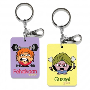 Exclusive Pehalvaan And Gussel Dost Cute Printed Friends Keychains Gift DL4COMB510