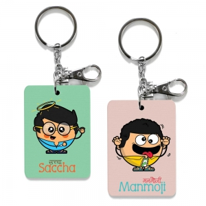 Exclusive Saccha And Manmoji Dost Funky Print Friends Keychain Combo DL4COMB516