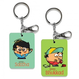 Exclusive Saccha And Bhukkad Dost Funky Print Friends Keychain Combo DL4COMB517