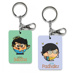 Exclusive Saccha And Padhaku Dost Printed Cute Friends Keychains Combo DL4COMB519
