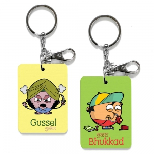 Exclusive Gussel And Bhukkad Dost Cute Printed Friends Keychains Combo DL4COMB521