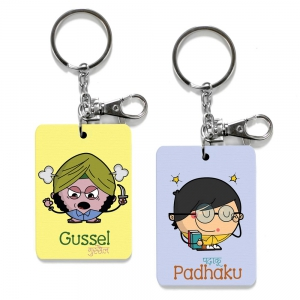 Exclusive Gussel And Padhaku Dost Funky Printed Friends Keychain Combo DL4COMB523