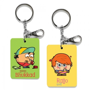 Exclusive Bhukkad And Rajjo Dost Funky Printed Friends Keychains Combo DL4COMB527