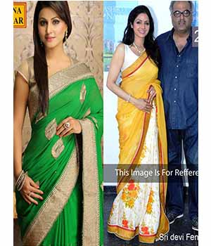 Pack Of 2 Arisha Georgette Embroidered Saree  Green And Yellow Comboa36