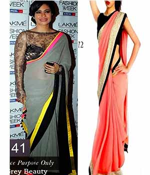 Pack Of 2 Arisha Georgette Embroidered Saree  Grey And Pink Comboa52