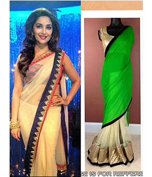 Pack Of 2 Arisha Net And Georgette Embroidered Saree Beige And Green Comboa8