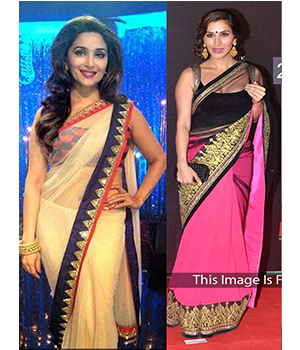 Pack Of 2 Arisha Net And Georgette Embroidered Saree Beige And Pink Black Comboa9