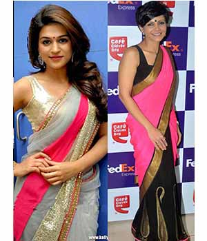 Pack Of 2 Arisha Net And Georgette Embroidered Saree Grey And Pink Black Comboa12