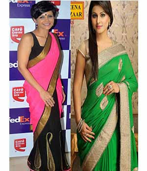 Pack Of 2 Arisha Georgette Embroidered Saree Green And Pink Comboa28