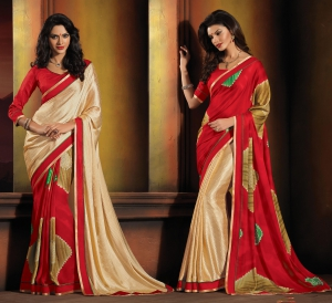 Varanga Red and Beige saree with unstitched blouse KFFSF20004