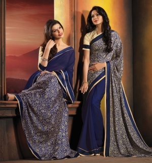 Riti Riwaz Grey and Beige saree with unstitched blouse FSF20012