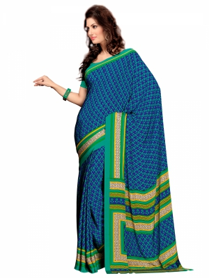 Varanga Blue Crepe Silk Designer saree with unstitched blouse KFKRS1156