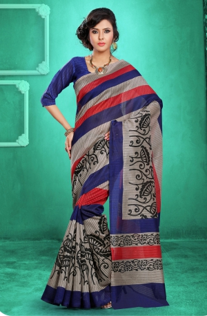 Riti Riwaz Blue Bhagalpuri Silk saree with unstitched blouse LNY6114B