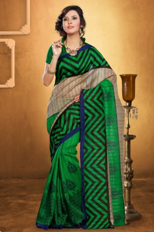 Riti Riwaz Green Bhagalpuri Silk saree with unstitched blouse LNY6115A