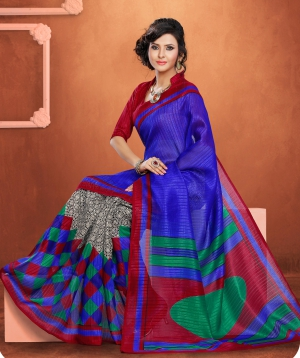 Riti Riwaz Red Bhagalpuri Silk saree with unstitched blouse LNY6117A