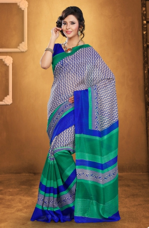 Riti Riwaz Blue Bhagalpuri Silk saree with unstitched blouse LNY6121A