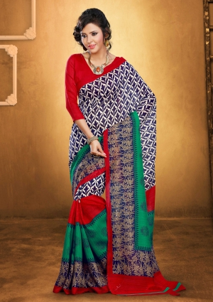 Varanga Red Bhagalpuri Silk saree with unstitched blouse KFLNY6122B