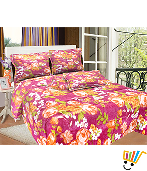 Bombay Dyeing MistyRose Double Bed Sheet Set - Maroon