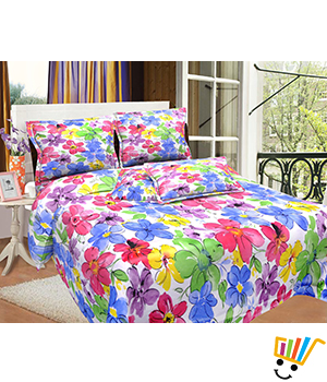 Bombay Dyeing MistyRose Double Bed Sheet Set - Multi
