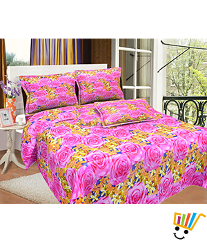 Bombay Dyeing MistyRose Double Bed Sheet Set - Mauve