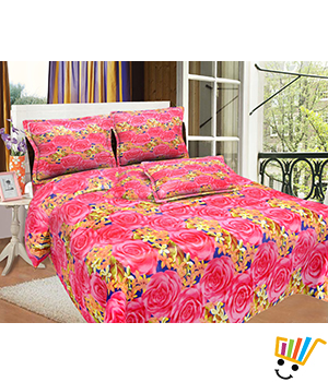 Bombay Dyeing MistyRose Double Bed Sheet Set - Red