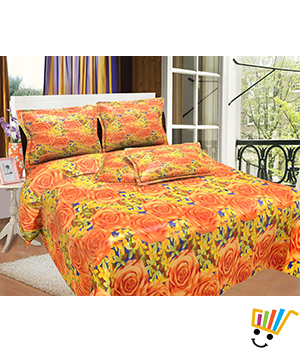 Bombay Dyeing MistyRose Double Bed Sheet Set - Yellow